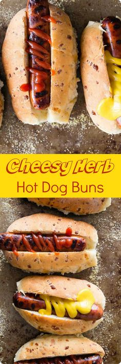 Cheesy Herb Hot Dog Buns   Fresh baked cheesy homemade hot dog buns with fresh rosemary and sage for added flavor. These are so easy to make and taste way better than store bought. Find recipe at redstaryeast.com.