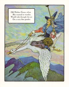 Old Mother Goose and Cock a Doodle Doo Print of Painting By: Frederick Richardson 1862-1937 Free Shipping