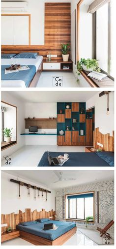 Modern Apartment Interior decor Wood and blues Simple Bedroom Design, Bedroom Bed Design, Home Decor Bedroom, Bedroom Apartment, Bedroom Designs, Bedroom Ideas, Modern Apartment Design, Interior Modern, Home Interior Design