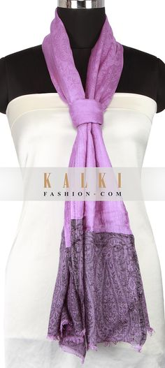 Buy Online from the link below. We ship worldwide (Free Shipping over US$100) http://www.kalkifashion.com/purple-scarf-enhanced-in-paisley-weave-only-on-kalki.html