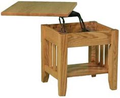 Drop leaf table with folding chairs stored inside ...