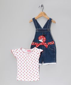 Take a look at this Young Hearts Red Flower Tee & Denim Ladybug Shortalls - Infant & Toddler on zulily today!