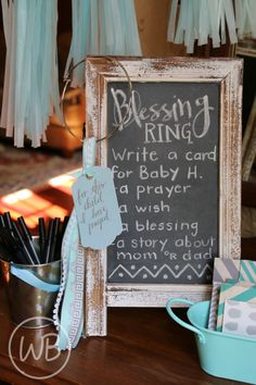 Baby Shower Game Idea--fill a Blessing Ring with cards of prayers and well-wishes from guests. Creates a great keepsake for baby too!