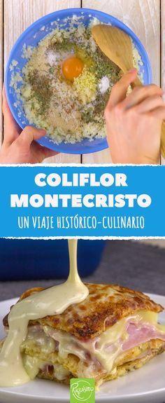 Pon en el horno una capa de coliflor, otra de jamón y una más de queso. #coliflormontecristo #receta #comida #comidacreativa #platosoriginales #quesogratinado #coliflor