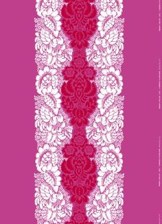 The fabric Ananas is a rich and decorative print designed in the early part of the by Maija Isola for Marimekko. A romantic and ornamental pattern in lovely colors. Pink Patterns, Textile Patterns, Textiles, Magenta, Purple, Motifs Roses, Marimekko Fabric, Pattern Wallpaper, Decoration