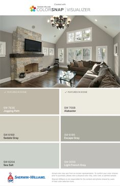 sedate gray, alabaster & sea salt Love the light French grey Interior Paint Colors, Paint Colors For Home, House Colors, Interior Design, Entry Paint Colors, Wall Colors, Colours For Living Room, Lowes Paint Colors, Paint Colours