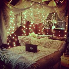 I have the lights, now I need some fabric and I will achieve this perfect bedroom  #readingnook #bedroom source: pinterest