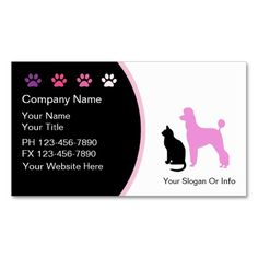 Pet Grooming Business Cards New. This great business card design is available for customization. All text style, colors, sizes can be modified to fit your needs. Just click the image to learn more!