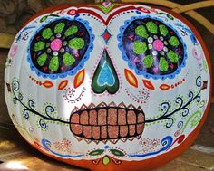 day of the dead (dia de los muertos) painted pumpkin, by lupe flores