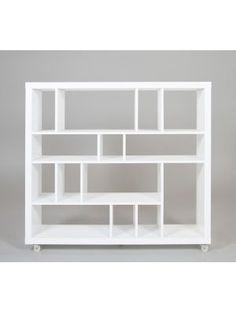 Bergamo boekenkast wit hoogglans design