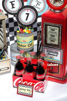 Vintage Race Car themed birthday party with Lots of Really Cute Ideas via Kara's Party Ideas