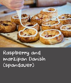 """Raspberry and marzipan Danish (spandauer)   """"What we might call a """"Danish"""" is actually an entire range of pastries known in Denmark as Wienerbrod, or Viennese bread. Of all of these, the spandauer is possibly the most popular, and that's named after a German prison. Confused yet? Well, it doesn't matter because they're absolutely delicious. This recipe is inspired by the one I had fromDanni and Helle Nielsen's bakery.""""Adam Liaw,Destination Flavour Scandinavia"""