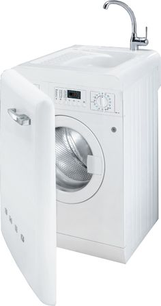Smeg Washing Machine with Sink - without a doubt. How about this is the only appliance in a color? depending on what color scheme we end up with Tiny House Appliances, Kitchen Appliances, Small Appliances, Smeg Kitchen, Mini Bad, Basic Kitchen, Smart Tiles, Outdoor Kitchen Design, Tiny House Living