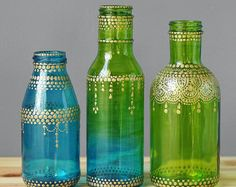 Tarro de cristal de estilo marroquí Bud jarrones, Teal de Ombre a cal de vidrio verde con detalles de oro