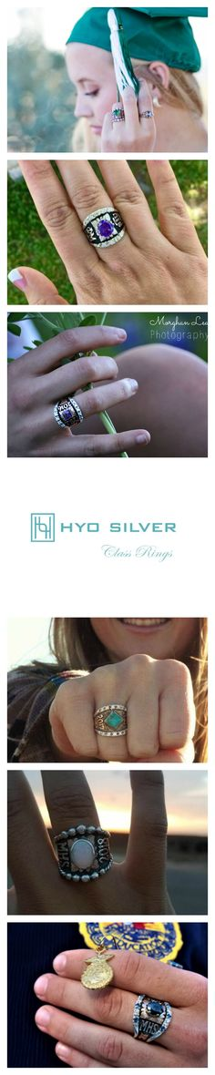 Explore class ring options in a style you'll love!  Discover Class Rings by Hyo Silver. #classrings #hyosilver #customjewelry #graduation #rodeo #FFA