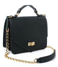 [St. Scott London] Diane Flap Shoulder Bag - Black Green