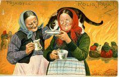 Sign Jenny Nyström Påsk kärringar med katt ca 1908