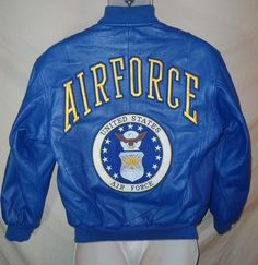 VINTAGE Men's Michael Hoban AIR FORCE Blue Leather Bomber Flight Jacket Coat-SM #MichaelHoban #FlightBomber
