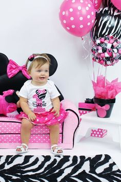 Minnie Mouse Personalized First Birthday Shirt in Hot Pink Polka Dots and Zebra Print. SHORT SLEEVES