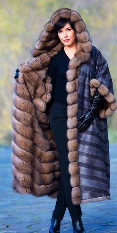 Tortora Dyed Sable Fur Hooded Coat Reversible to Hide