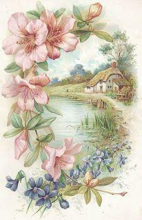 Vintage postcard, cottage, pink and blue flowers Vintage Greeting Cards, Vintage Ephemera, Vintage Paper, Vintage Postcards, Art Floral, Vintage Pictures, Vintage Images, Graffiti Kunst, Illustrations Vintage