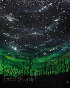 Space Galaxies Creator Observer Trees 11x14 by treetalker, $150.00