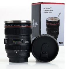 Coffee Mug - Camera Lens Travel Thermos - Stainless Steel Insulated Cup with Easy Clean Lid - - Black - Go with Premium Stainless Steel Spoon Bonus_uHome Camera Lens Mug, Melitta Coffee Maker, Chocolate Covered Coffee Beans, Latest Camera, Insulated Cups, Gifts For Photographers, Novelty Items, Coffee Lover Gifts, Cool Gifts