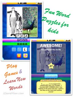 Fun Word Puzzle Game for Kids - perfect to play at family gatherings #kidsapps #GameApps