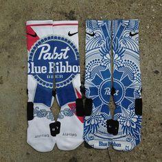 PBR Pabst Blue Ribbon socks
