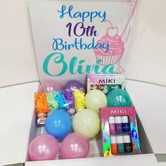 Surprise Box Gift, Surprise Birthday, Birthday Presents, Happy Birthday, Personalized Balloons, Personalised Box, Balloon Box, Bath Bombs, Gifts For Him