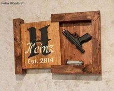 Reclaimed Hardwood Concealed Gun Storage, Gun Storage, Hidden Gun Storage, Monogram Family Name Sign Concealed Storage Gun Storage Hidden Storage by HeinzWoodcraft