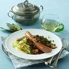 Linsengemüse mit Saiten (Wiener Würstchen) und Spätzle