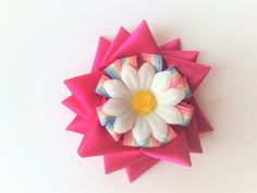 Tripple pointed star bow with flower centre and flower embellishment Barrette Clip, Flower Center, Embellishments, Centre, Bows, Stars, Flowers, Gifts, Ticks