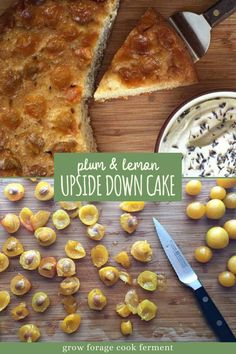 This plum and lemon upside down cake is the perfect easy dessert recipe for summertime entertaining. It's baked in a cast iron skillet, then topped with lavender whipped cream. Lemon Upside Down Cake, Baking Recipes, Real Food Recipes, Easy Desserts, Dessert Recipes, Yellow Plums, Food L, Cast Iron Cooking, Whipped Cream
