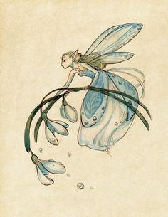 Midsummer Fairies Snowdrop 13x19 Art Print by CaseyRobinArt, $35.00