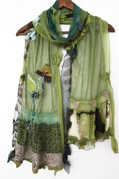 Green scarves women's cotton shawls forest by Nazcolleccolors