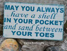 Beach Decor, Beach Sign, Beach Theme, Coastal Decor, Nautical Sign, Beach House, May You Always Have Shell In Pocket, Hand Painted