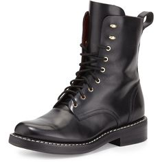Rag & Bone Emil Leather Combat Boot (1.105 BRL) ❤ liked on Polyvore featuring shoes, boots, ankle booties, combat boots, sapatos, black, ankle boots, black leather, lace up booties and black leather bootie