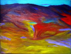 Abstract Mountain Painting, PAINTINGS, Art, Abstract Landscape Painting, Mountains, Original Art, Small Paintings, Purple, Yellow, Paintings