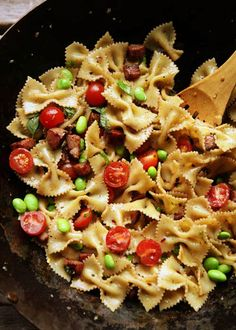 Smoky Ham Tomato Edamame Pasta - this is yummy, fairly light, and I've made several variations with different meats, veggies, seasonings, etc.