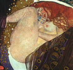 Gustav Klimt: Danae (fecondata da Zeus sotto forma di luce dorata, madre di Perseus) (1907-8) olio su tela 77x83. Stile: Art Nouveau. Periodo: Fase d'oro