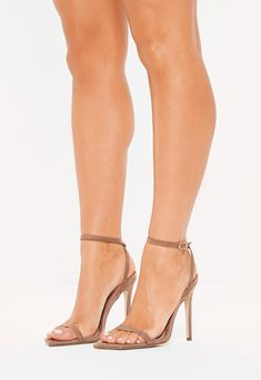 Missguided Taupe Slanted Toe Barely There Heels Shoes Uk, New Shoes, Taupe Shoes, Walk This Way, Ankle Straps, Missguided, Shoes Online, Going Out, High Heels