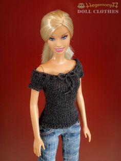 Maßstab 1/6 dunkel grau Hand gestrickte dehnbar Puppe oben Größe: Barbie, Pullip, Momoko, 27 cm Obitsu und ähnliche Mode Puppen, kleine BJD.  Die anderen Dinge aus den Fotos sind nicht enthalten.  Warnung! Nicht bestimmt für Kinder unter 3 Jahren Collectible, kein Spielzeug. Gedacht für Erwachsene über 16 Jahren.  Lesen Sie die Richtlinien und Fragen Sie mich vor dem Kauf