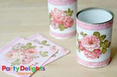Tin Can Crafts for your party Customise your own Shabby Chic party decorations with some old tin cans, glue and napkins. Shabby Chic Kitchen Decor, Shabby Chic Crafts, Tin Can Crafts, Diy And Crafts, Decoupage Tins, Recycled Tin Cans, Recycle Cans, Diy Bottle, Pots