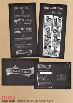 Photo Booth Snapshots Chalkboard Inspired Wedding Invitation Suite No14 3900 Via Etsy