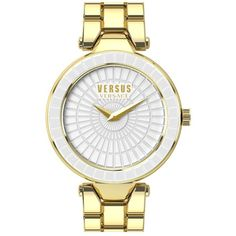 VERSUS by Versace 'Sertie' Etched Enamel Bezel Watch, 38mm (3 740 ZAR) ❤ liked on Polyvore featuring jewelry, watches, buckle jewelry, bezel watches, two tone jewelry, bezel jewelry and buckle watches