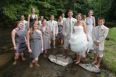 The wedding party who's not afraid to get their feet wet. Bridal Parties, Party Pictures, Bridesmaid Dresses, Wedding Dresses, Virginia, Unique, Fashion, Bridesmade Dresses, Bride Dresses
