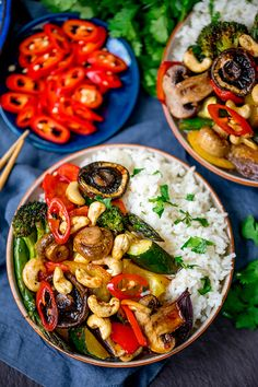 This spicy dish of Asian Mushrooms incorporates a rainbow of veggies! All cooked together on one tray in the oven. It totally hits the spot for a healthier takeout alternative. A great Meatless Monday idea. #vegetariandinner #vegetarianrecipe #onepan #sheetpandinner #onepot #asian #asianvegetables #easyvegetariandinner