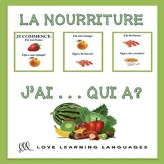 This is a really fun game to practice with your students who are learning vocabulary about LA NOURRITURE, and it involves NO PREP once you've printed and cut out the cards. I've included both a beginner and intermediate version of the game. The beginner version has the words written out and the intermediate version only shows pictures.