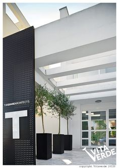 An #office entrance designed with style. #plants make the working environment more enjoyable.